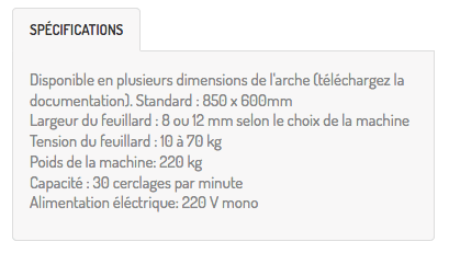 specifications techniques cercleuse automatique